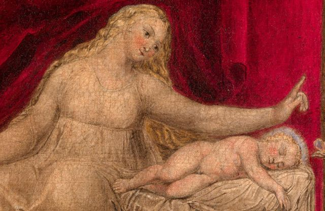 William Blake: The Virgin hushing the young John the Baptist