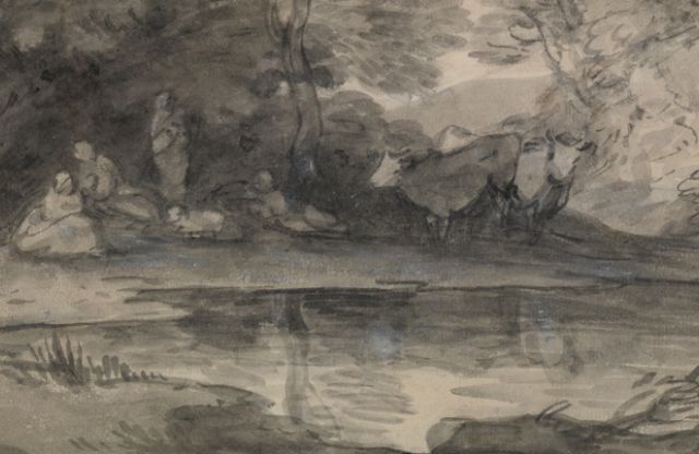 Thomas Gainsborough: Figures and cattle beside a woodland pool